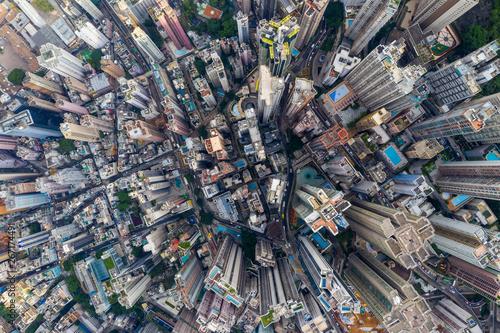 Obraz na plátně Aerial view of Hong Kong city