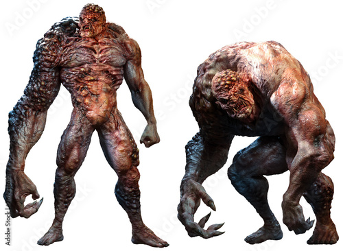 Photo Mutant abomination monsters 3D illustration