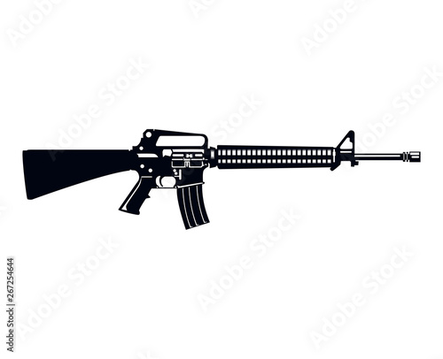 Fototapeta Military Style M16 Assault Rifle Machine Gun