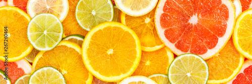 Citrus fruits collection food background banner oranges lemons limes grapefruit Fototapete