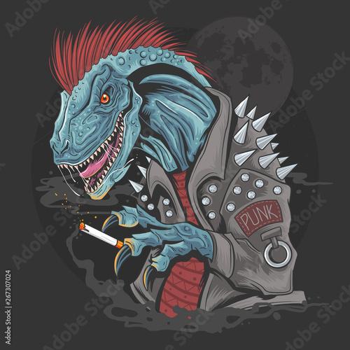 Obraz na plátně Dinosaur Punk Raptor t-rex element vector