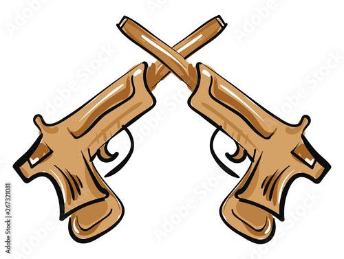 Pistols, vector or color illustration. Fototapet