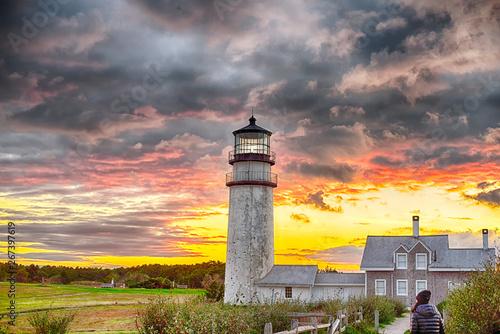 Naklejki na drzwi Piękny zachód słońca przy latarni morskiej