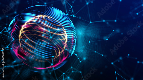 Stampa su Tela Future business investing in world cyber technology in digital space 3D rendering background, colorful global with power energy path fot internet and technology concept