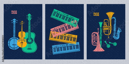 Canvas Print Musical instruments, guitar, fiddle, violin, clarinet, banjo, trombone, trumpet, saxophone, sax, music lover slogan graphic for t shirt design posters prints covers