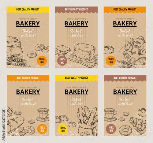 Vászonkép Bakery hand drawn posters
