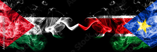 Wallpaper Mural Palestine vs South Sudan smoky mystic flags placed side by side