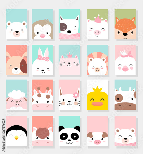 Wallpaper Mural set cute baby animals with card for printing,greeting card,badge,happy birthday, t shirt,banner,product