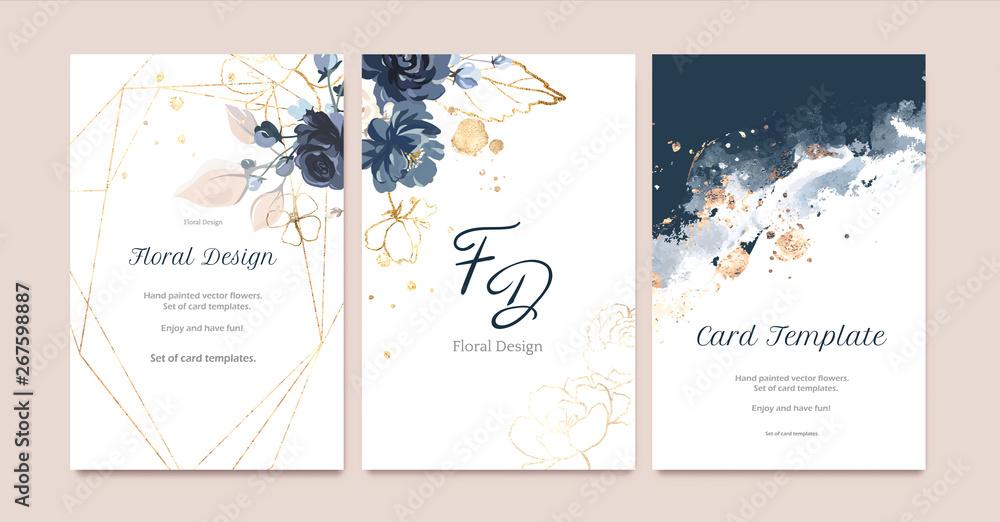 Set karta z kwiatem wzrastał, liście. Koncepcja granatowy i złoty ślub. Plakat kwiatowy, zapraszam. Wektorowy dekoracyjny kartka z pozdrowieniami lub zaproszenia projekta tło <span>plik: #267598887   autor: lisima</span>
