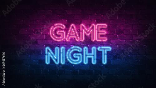 game night neon sign. purpl...