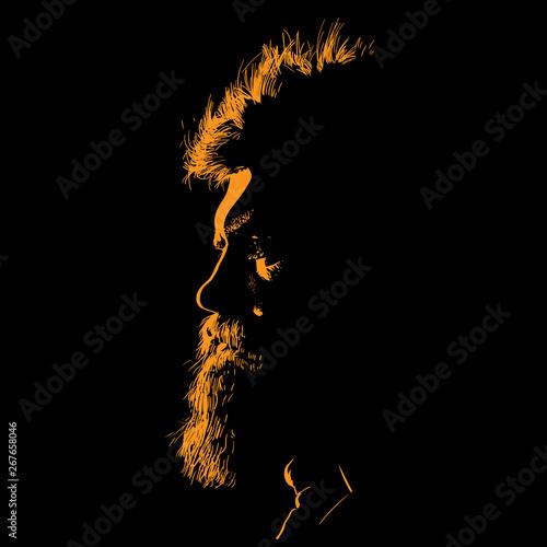 Fototapeta Bearded Man portrait silhouette in contrast backlight