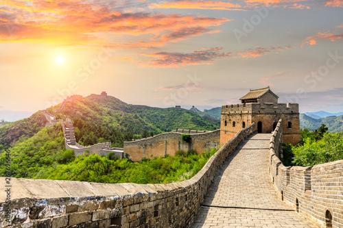 Fotografie, Obraz The Great Wall of China at sunset,Jinshanling