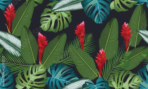 Fotografie, Obraz Seamless pattern tropical leaves with ginger flower on black background