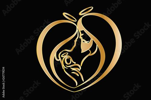 Obraz na plátne Holy family gold vector logo