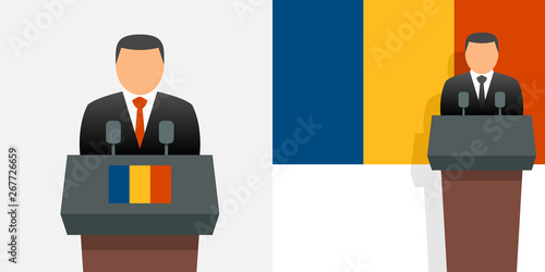 Canvas Print Romanian president and flag