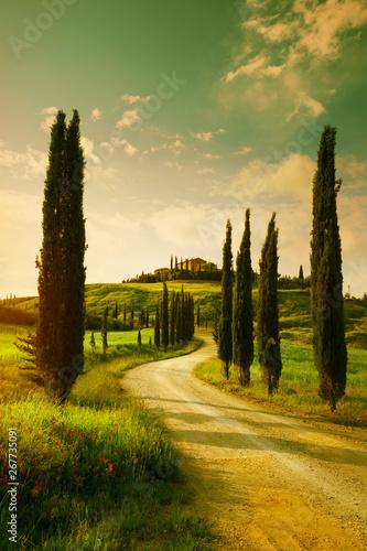 Fototapeta premium Vintage krajobraz wsi Toskanii