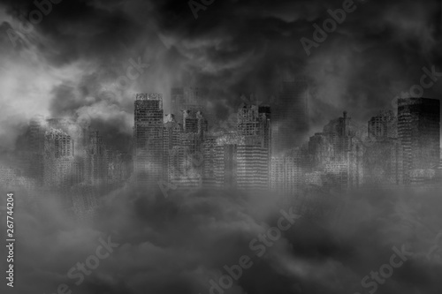 Fotografia The ruins of a large city building are covered with smoke from the civil war and