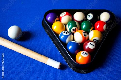 Pool billiard balls on blue table sport game set Fototapeta
