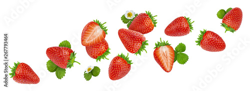 Canvas Print Strawberry isolated on white background with clipping path