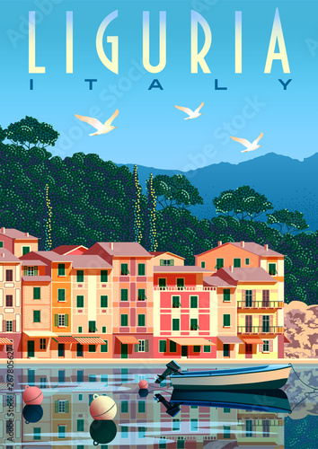 Fototapeta Sunny summer day in Liguria with boat and fishing village in the foreground, tre