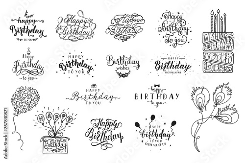 Wallpaper Mural Happy Birthday party lettering design