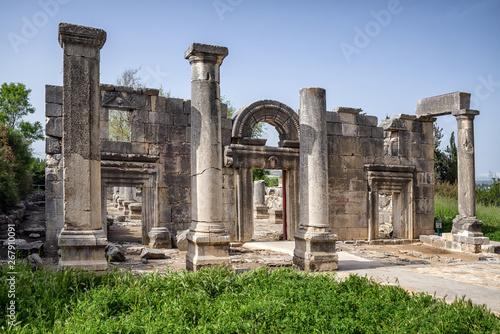 Fototapeta Ancient synagogue ruins at Kfar Bar'am in Israel