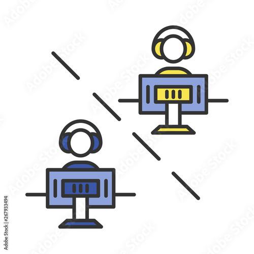 Obraz na plátně Multiplayer video game color icon