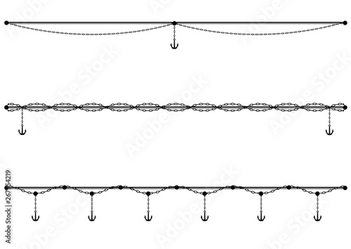 Fotografia, Obraz set of sea vector dividers with chain and anchor in black and white colors