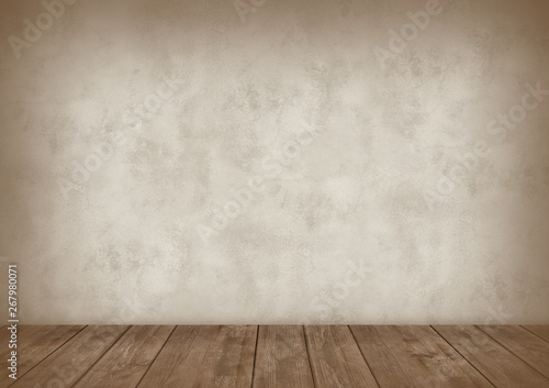 Leinwand Poster Background for photo studio with wooden table and backdrop