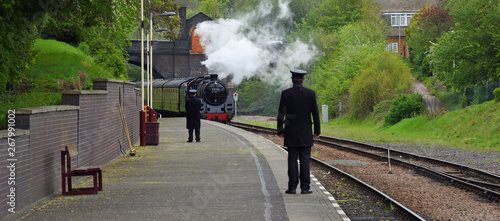 Photo BR Standard Class 5 73156 Steam Engine pulling into North Leicester Heritage Railway Station