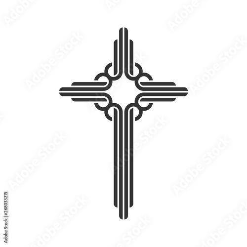 Celtic Ornamental Christian Cross Vector Logo Template Fotobehang