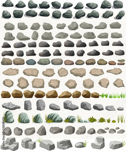 Fotografia Rock stone set with grass cartoon in flat style. Vector