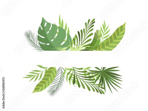 Granica liści z miejscem na tekst, egzotyczne liście tropikalne, baner, plakat, zaproszenie na ślub, lato z życzeniami projektowania elementu ilustracji wektorowych