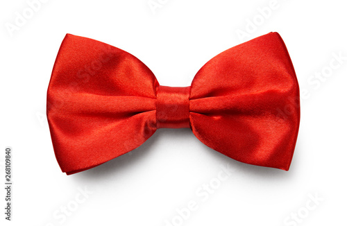 Vászonkép Red color bow tie isolated on white background with clipping path