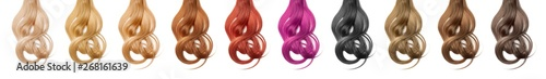 Fotografia Collection various colors of wavy hair on white background