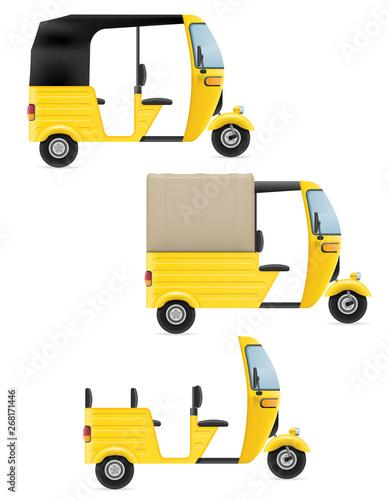 Fotografie, Obraz motor rickshaw tuk-tuk indian taxi transport vector illustration