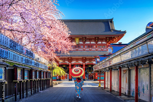 Canvas Print Asian woman wearing japanese traditional kimono at Temple in Tokyo, Japan