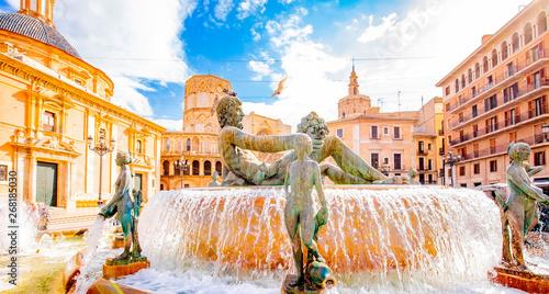 Historic Turia Fountain (Fuente del Turia) with Neptune statue in Valencia