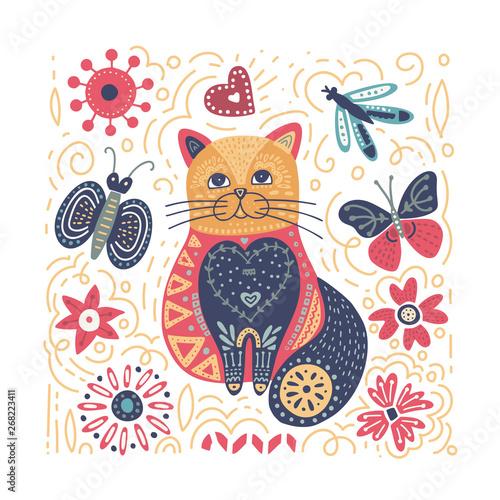 Fototapeta Folk art vector cat illustration.