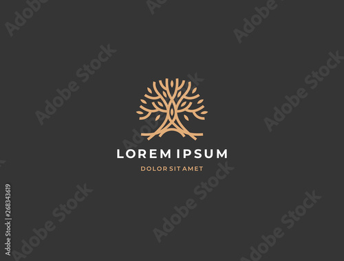 Abstract tree logo icon. Universal creative premium solid floral leaf symbol. Cosmetic and spa. Vector circle life tree icon sign.