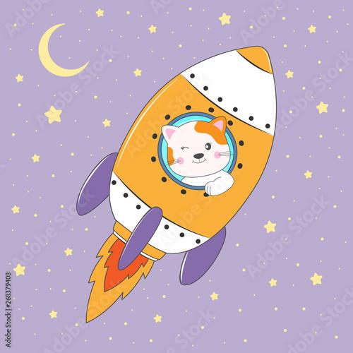 Śliczny śmieszny kota astronauta lata na rakiecie.