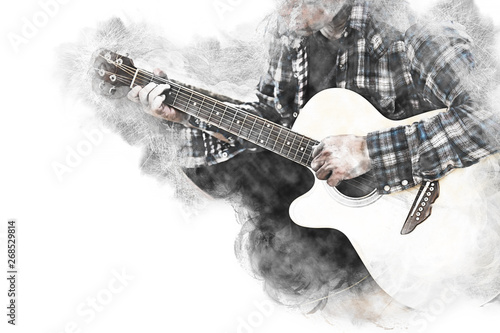 Fototapeta Abstract beautiful man guitarist playing acoustic guitar in the foreground on Watercolor painting background and Digital illustration brush to art