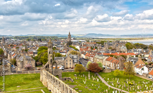 Photo Aerial View over St Andrews in Scotland
