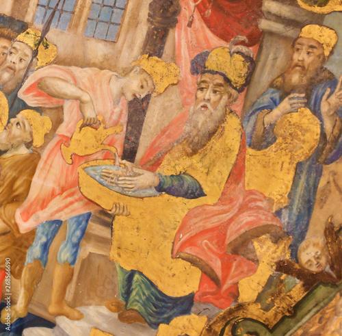 Fotografia, Obraz Fresco of Jesus brought before Pontius Pilate in Church of the Holy Sepulchre, J