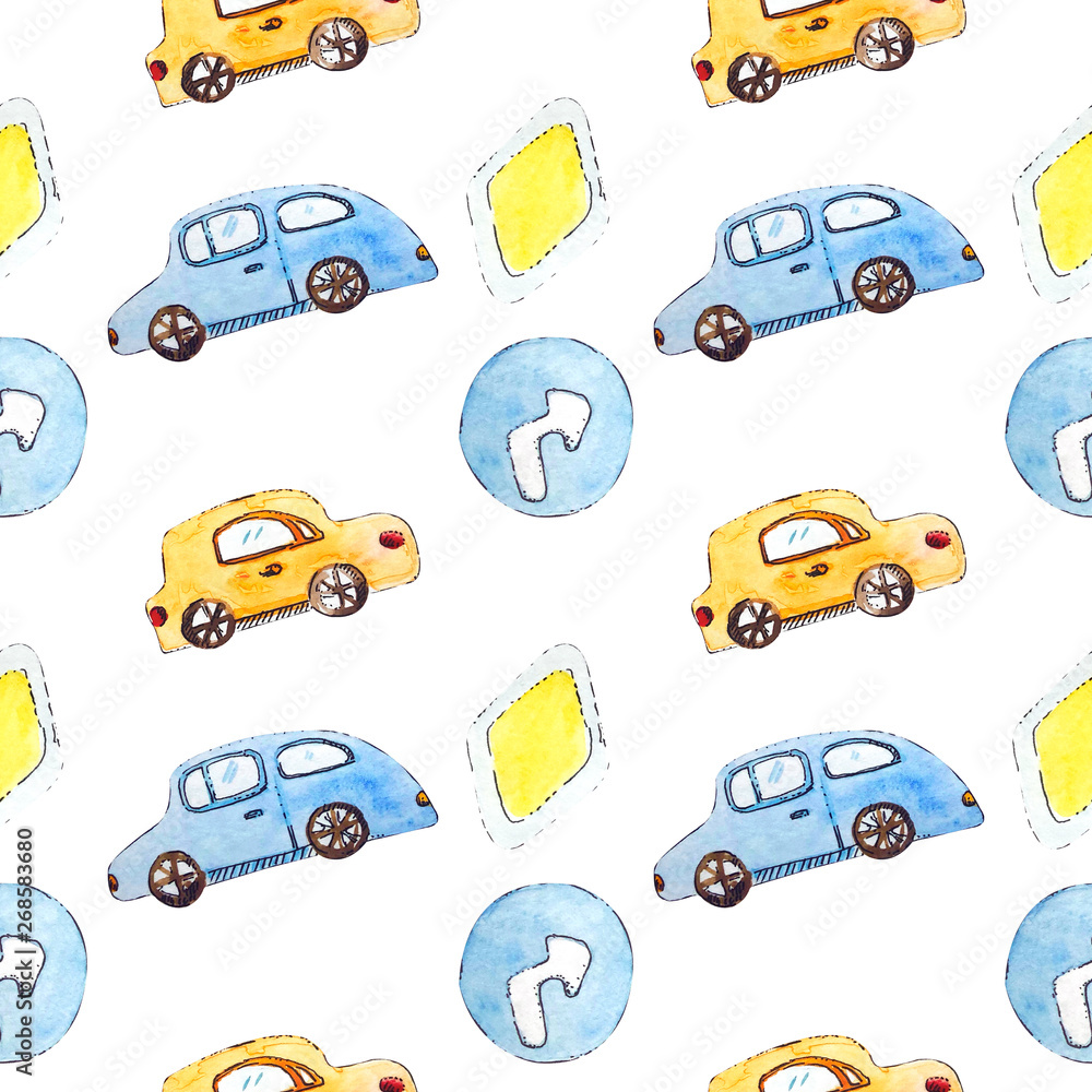 Watercolor cars and road signs on white seamless background <span>plik: #268583680   autor: Анастасия Ионова</span>