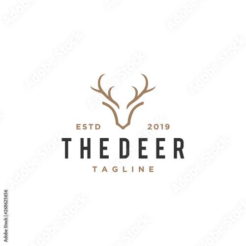 Leinwand Poster deer antlers vector logo design