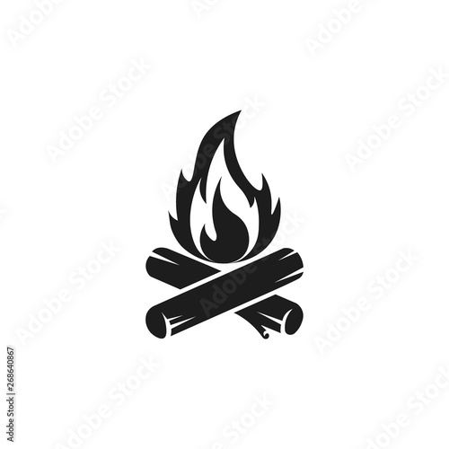 Camp fire icon. Bonfire burning on firewood sign. Vector. Fototapet