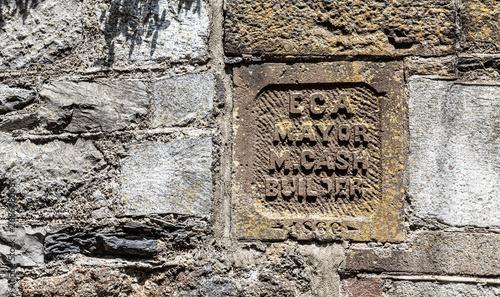 Canvas Print An Old Block Cornerstone on a wall in Savannah Georgia