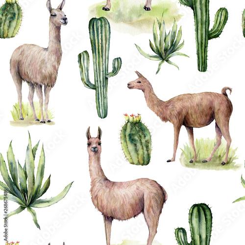 Fototapeta Watercolor seamless pattern with llama and desert cacti