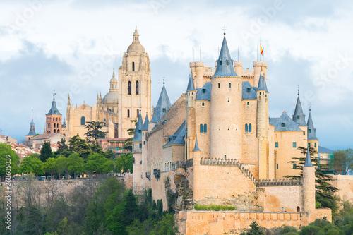 Obraz na plátně amazing view of alcazar royal castle of segovia, Spain
